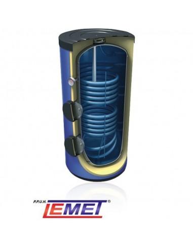 Wymiennik Lemet 300 litrów z podwójną wężownicą spiralną, ocieplony, pionowy